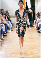Зухаир Мурад коктейльные платья-Line без бретелек без бретелек рукавов Короткие Мини-желтые кружева цветы платья