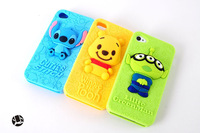 Cartoon 3D Three Eyed Green Stitch Bear Silicon case for iPhone 4 4S
