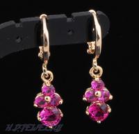 Rose zircon 18k gold plated Crystal dangle drop women earrings wholesale beads ear cuff jewelry JE234