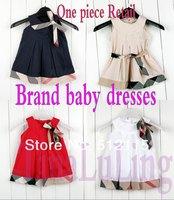 Free shipping Baby girls dresses 2014 kids plaid summer dress children's princess baby sleeveless plaid dress for 1-5Yrs Retail