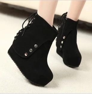 733505d76 осенние сапоги лифт обувь Женская мода клинья сапоги на высоком каблуке  туфли на платформе сапоги