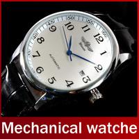 2014 Fashion Brand Winner Luxury Leather Strap Dress Automatic Mechanical Self Wind Men Analog Watch Auto Date For Man Watch