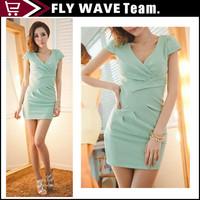 Free shipping Sexy Midi Length Plunge V Neck Office Slim Party Pencil midi Dresses fashion OL dress NZS065