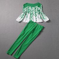 Free shipping! European Fashion autumn women's 2013 cutout leaves lace top skinny pants set,top+pants