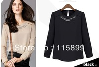 free shipping new 2014 causal OL beading noble chiffon Europe peplum blouses simple  women T-shirt fashion design slim