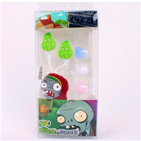 Plants vs Zombies PVZ 3.5mm In Ear earbuds retail packing for ipad Windows 24pcs/lot Free shipping wholesale