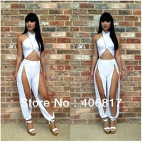 2014 New Arrival Sexy Hollow Cut out Design Sleeveless Women jumpsuits Overalls Trousers Party Romper White