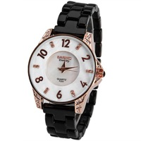 watch Free shipping new 2013 hot lady of luxury watch brands of electronic quartz clock dial ceramic bracelet with diamonds