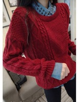 Free shipping new autumn and winter 2014 women's European and American style retro twist diamond thick mohair sweater