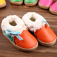 Bow child snow boots plus velvet thickening slip-resistant child cotton-padded shoes toddler shoes cotton boots low