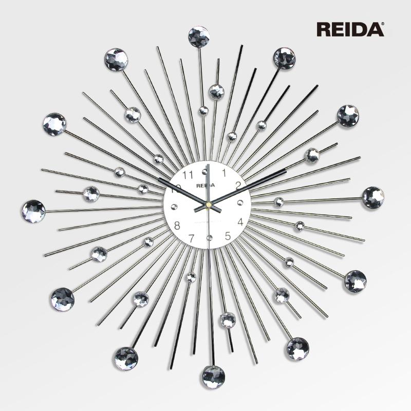 Reida wrought iron wall clock fashion modern decoration clock rhinestone fashion luxury art watch(China (Mainland))