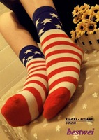 New Collection High Quality Women's Stripe Star American Flag Mid-calf Length Socks