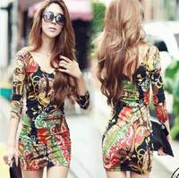 Free shipping dresses new fashion 2014 winter sexy v-neck printed bodycon novelty vintage dresses vestidos