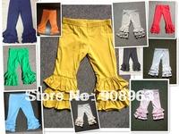 Latest 2014 boutique wholesale ruffle bottom pants baby kids pants girls triple ruffled cotton leggings 30pcs/lot
