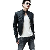 free shipping Winter male slim jacket stand collar male jacket male jacket outerwear male motorcycle clothing leather jacket