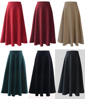 Autumn winter cashmere woolen bust skirt fashion vintage hepburn high waist expansion bottom woolen half-length free shipping