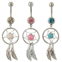 Free Shipping 1pcs  Nickel-free Dream Catcher Dangle Hot Belly bar Crystal single Gem Fashion Body Piercing Jewelry  14G