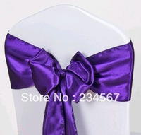 100pcs 17*275cm dark purple satin chair sash bow ribbon wedding party banquet decoration free shipping