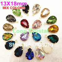 18x13mm MIX COLORS 30PCS/LOT Vintage Crystal Pear Pedant Faceted Glass Stones 1 Loop Brass Settings