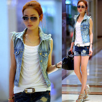 2014 NEW Water wash 401 distrressed 2013 autumn personality cardigan women's denim vest Jacket