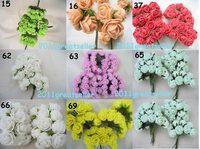 24PCS/SET RED PINK CHAMPIGNE Roses Artificial Flower Heads Wedding Card Craft party Home Garden 0.8