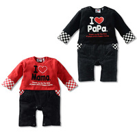 Retail 2014 new baby romper baby love mama love papa Children's clothing  autumn love mom long-sleeve bodysuit romper two color