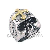 Free Shipping! Gothic Gold Cross Skull Biker Ring Stainless Steel Jewelry Punk Motor Biker Men Ring SWR0097