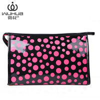 2014 women's handbag japanned PU leather large capacity cosmetic bag professional make up bag multi purpose coin purse