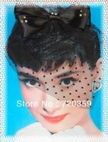 Free shipping!New Bridal Birdcage Veil, Party Headdress,black  veil,black bowknot ,shine Rhinestone Wedding Accessory