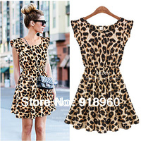 2014 summer sleeveless Leopard Print dress Women's clothing/pleated sexy Night club dress/vestidos feminino/Size M L XL/WtQ
