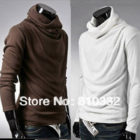 New Arrival Men's Brief Shirt All-match Male Clothing Full Sleeve Slim Cotton Pullovers Turtleneck Piles Collar Sweater Tops