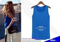 2014 Bestselling Summer women fashion color chiffon sleeveless o-neck shirt elegant all-match pocket vest top Drop Shipping