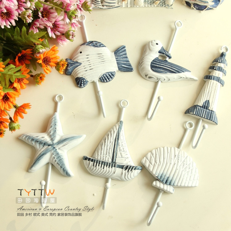 Free shipping 6pcs/lot Mediterranean Style fashion iron hook wall mounted coat hanger decorative hanger(China (Mainland))