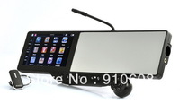 Black 72P HD DVR Bluetooth Rearview Mirror with Built-in GPS Navigation Windows CE 6.0