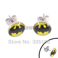 Free shipping! Enamel Batman Earring Body Piercing Stainless Steel Jewelry Trendy Motor Biker Earring Studs SJE370019-1