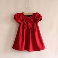 Autumn and winter baby girl dress red aesthetic bow thin woolen one-piece dress female child patty
