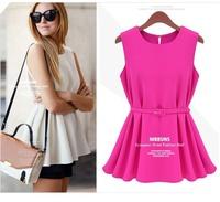 sleeveless chiffon womens blouses,European style summer blusa chiffon loose shirt with belt,rose white yellow black shirt,
