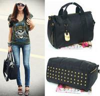 2014 New Hot Fashion PU leisure bag rivets female bag diagonal package