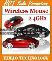 100pcs/lot  free shipping 2.4GHz USB Wireless mouse 1600DPI MINI car wireless mouse