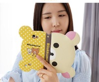 2014 new Free shipping Rilakkuma Bear Head New Leather Flip Wallet Cover case for iphone 4 4s 4/4s case luxury Credit Card