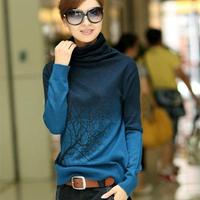 2013 women's cashmere sweater turtleneck knitted basic shirt branch print Gradient Color design pullover plus size S-XXXL