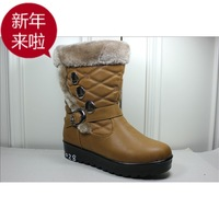 Black knee-high winter thermal soft quinquagenarian slip-resistant outsole casual snow boots cotton-padded shoes