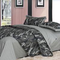 Home black and gray Camouflage 100% cotton 100% piece cotton bed set