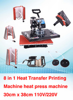 8 IN 1 t shirt Mug Cap Plate Heat transfer printer t shirt Combo heat press machine Sublimation machine