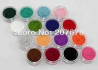 New 16 Colors Fashion Tips Nail Decoration Fuzzy Flocking Velvet Nail Powder Nail Art Tools Wholesale Free Shipping