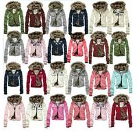 2013 New Fashion Winter Lady Coat cardigans Women's Cotton-Padded Jackets Outerwear Warm Double Layer fur winter Hoody Jacket