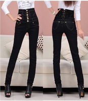 New 2014 high waist jeans woman Thick large size black cotton button skinny pencil pants size S-4XL jeans for women