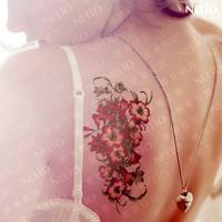 $2 temporary tattoo  ultralarge sexy red flower tattoo sticker waterproof women   tattoos stickers body art tattoo sticker