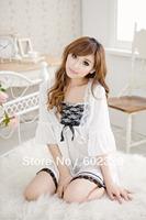 ** whole sale **  sexy  white with black lace long dress, cheap three-piece set, underwear women sexy, 10pcs/lot, free shipping