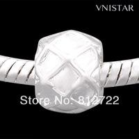50pcs/ lot Free Shipping Vnistar Shiny Silver Plating European Column Beads, PBD670